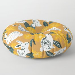 Bunnies & Blooms - Ochre & Teal Palette Floor Pillow