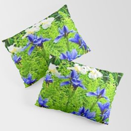 WHITE-BLUE IRIS & CHARTREUSE FERNS GARDEN Pillow Sham