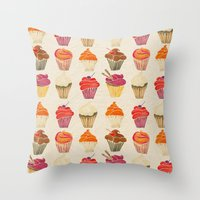 cupcakes Throw Pillows featuring Cupcakes by Cat Coquillette