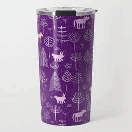Modern hand painted violet pink white forest trees animals pattern Travel Mug