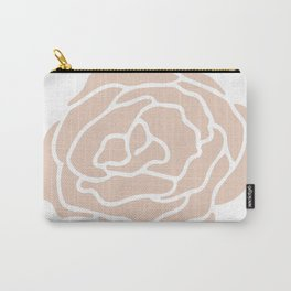 Rose in Vintage Rose Pink on White Carry-All Pouch