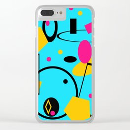 retro abstract blue Clear iPhone Case