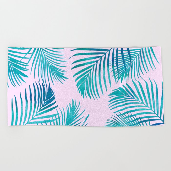 Palm Leaves On Pink Beach Towel By Naturemagick Society6