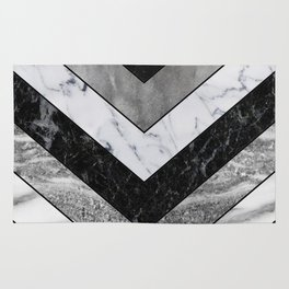 Shimmering mirage - grey marble chevron Rug