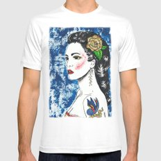 Lady With Swallow Tattoo MEDIUM White Mens Fitted Tee