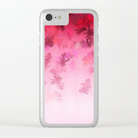 Autumn-world 4 -  leaves on pink Clear iPhone Case