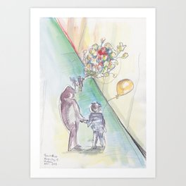 'Balloons' Watercolor Illustration Painting Art Print