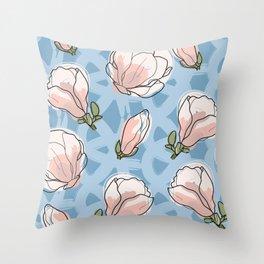 magnolia blossom seamless background Throw Pillow