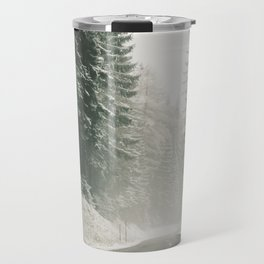 Forest Road In Winter Travel Mug