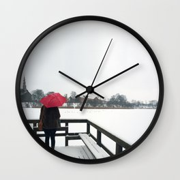 Copenhagen - Red Umbrella Wall Clock