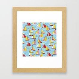 seagulls and sails Framed Art Print