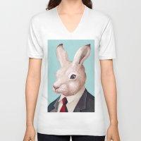 rabbit V-neck T-shirts featuring Rabbit by Animal Crew