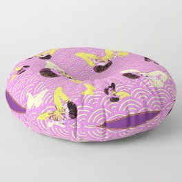 Lilac Yellow Butterflies Fantasy Abstract Pattern Floor Pillow