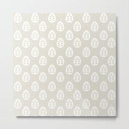 Abstract blush gray white polka dots leaves illustration Metal Print