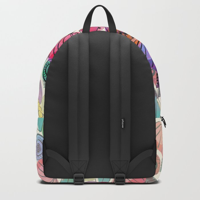 Pink and indigo flower pattern Backpack