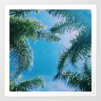 palm trees Art Prints featuring PALM TREES by C O R N E L L