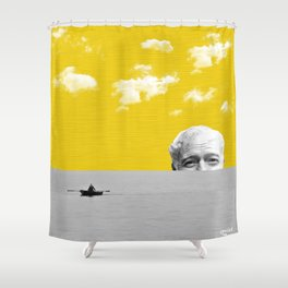 Ernest Hemingway | Old man and the Sea | Digital Collage Art Shower Curtain