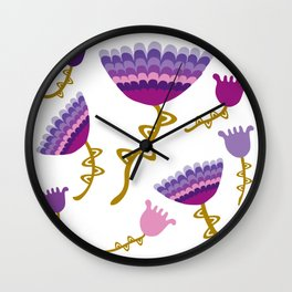 Florets Plum Wall Clock