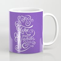 sam winchester Mugs featuring Sam F***in' Winchester by clockwork robots