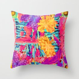 floral collagraph print Throw Pillow
