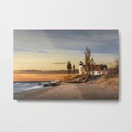 Point Betsie Lighthouse at Sunset on Lake Michigan near Frankfort Michigan No.66032 Fine Art Lightho Metal Print