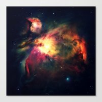 nebula Canvas Prints featuring Orion NEbula Dark & Colorful by 2sweet4words Designs