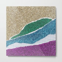 Glitter Paper Collage #6 Metal Print
