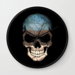 Dark Skull with Flag of Estonia Wall Clock