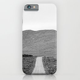 Road Outta Town // Black and White Landscape Photograph Going Out to Nowhere Peaceful Scenery iPhone Case