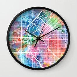 denver map watercolor Wall Clock