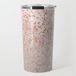 Mixed glitters on pink marble Travel Mug