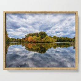 Autumn Reflections Landscape Photograph Fall Foliage on Pond Farmhouse Art Serving Tray
