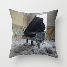 The Grand, abandoned piano Throw Pillow