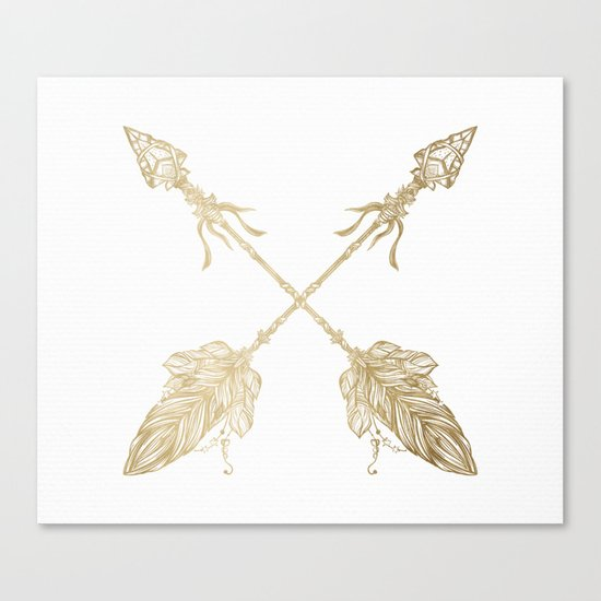 Tribal Arrows Gold on White Canvas Print