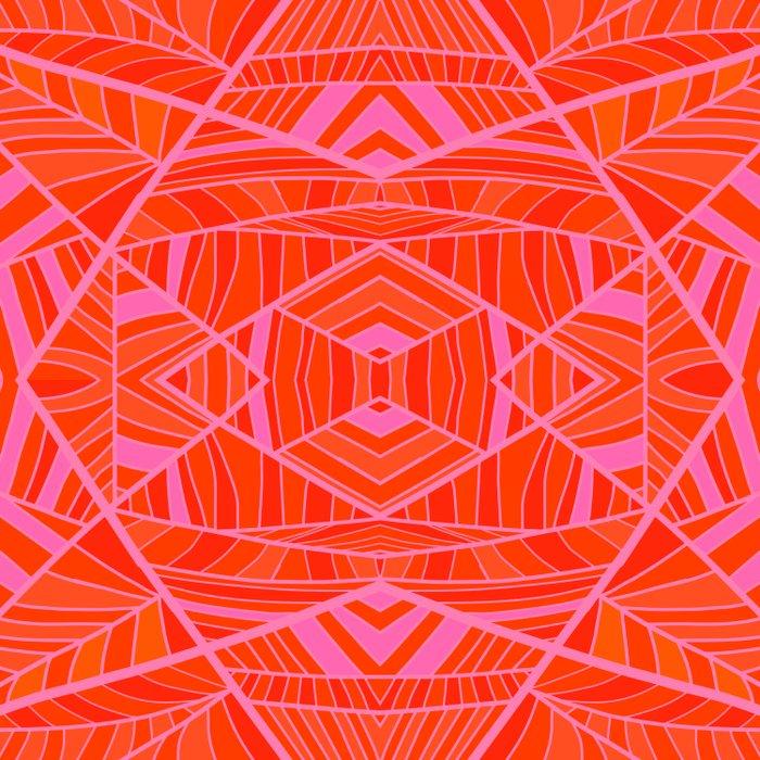 Mostly Orange Geo Pattern Duvet Cover