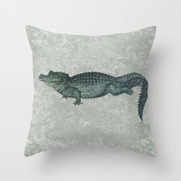 Blue & Green Crocodile Siamese Twins on Sage Green Rock Throw Pillow