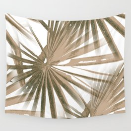Brown on White Tropical Vibes Beach Palmtree Vector Wall Tapestry