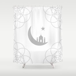 Mosque and crescent moon- symbol of the religion of Islam Shower Curtain