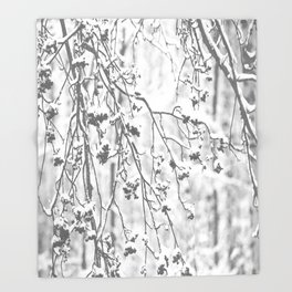 Cloudy Day In The Forest B&W Snowy Rowan Branches With Berries #decor #society6 #homedecor Throw Blanket