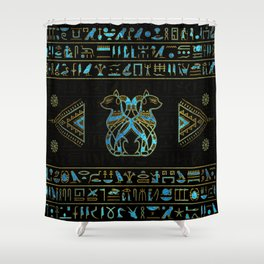 Egyptian Cats Gold and blue stained glass Shower Curtain