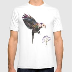 Hummingbird Watercolour Silhouette SMALL White Mens Fitted Tee