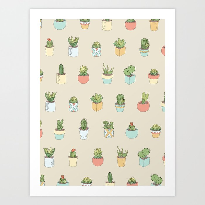 Cute Succulents Art Print