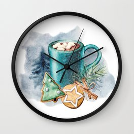 Cocoa with cookies and marshmallow Wall Clock
