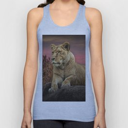 African Female Lion in the Grass at Sunset Unisex Tank Top