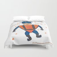 steve rogers Duvet Covers featuring Dorito Steve by Firefly Summers
