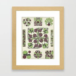 purple and green retro floral pattern Framed Art Print