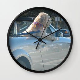 Happy dog in convertible Wall Clock