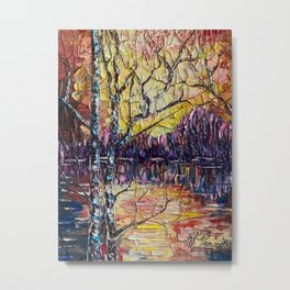 A Beautiful Sunset That Was Mistaken For A Dawn Oil Painting with a Palette Knife Metal Print