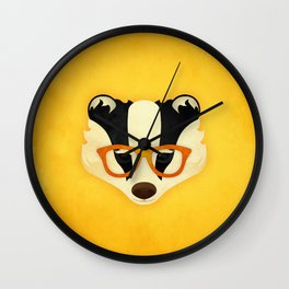 Hipster Badger: Gold Wall Clock