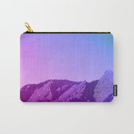 Boulder Colorado Flatirons Decor \\ Chautauqua Park Purple Pink Blue Green Nature Bohemian Style Art Carry-All Pouch